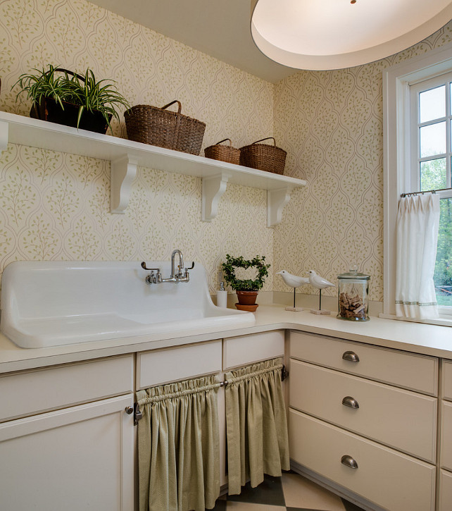 Laundry Room. Laundry Room Ideas. Traditional Laundry Room with vintage sink and sink skirt. #LaundryRoom #LaundryRoomIdeas #LaundryRoomDesign #TraditionalLaundryRoom