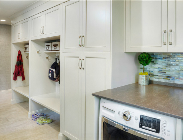 Laundry Room. Laundry Room cabinet Paint Color is Benjamin Moore Navajo White. #LaundryRoom