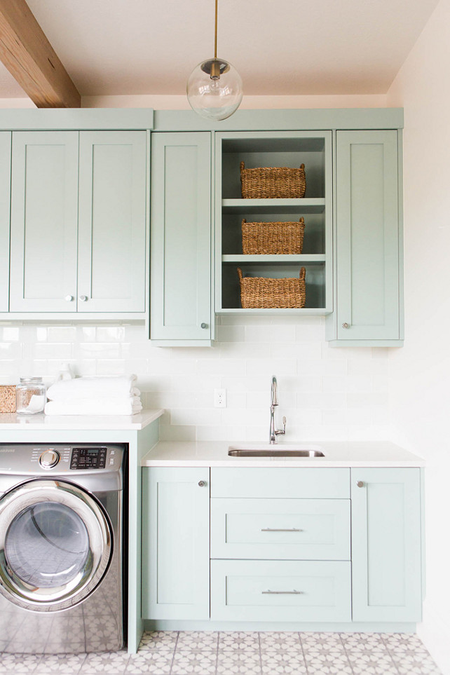 Design For Cabinet For Room: Coastal Blue Laundry Room Design