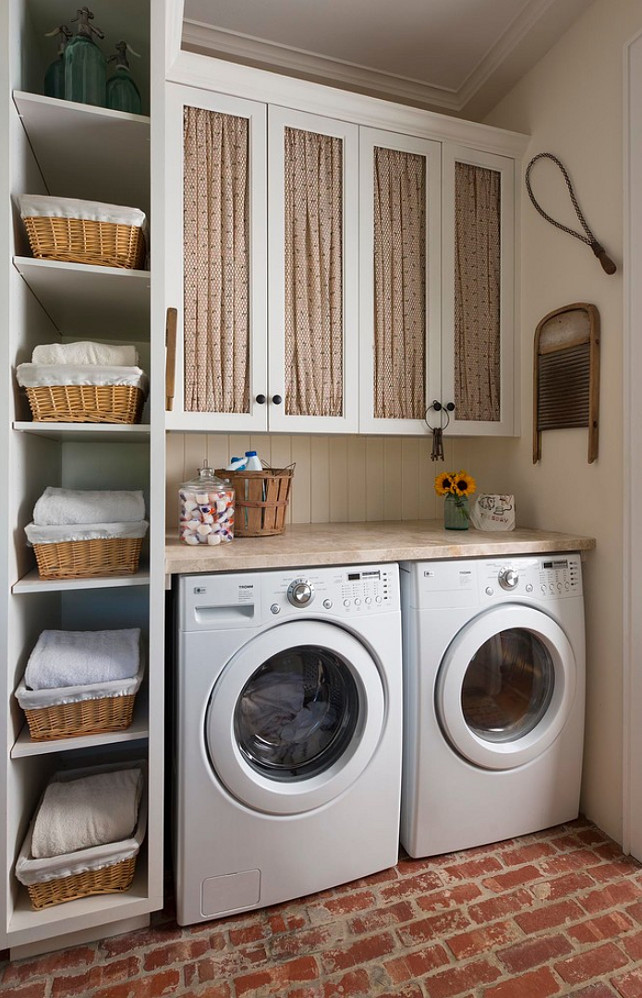 Laundry Room. Laundry Room with chicken wire cabinets and shelves and baskets to provide storage space. #LaundryRoom