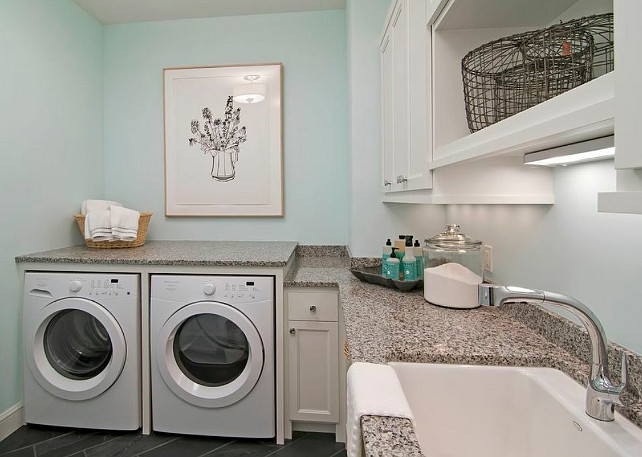 Laundry Room. Laundry Room with turquoise wall and white cabinet. #LaundryRoom #LaundryRoomDesign #LaundryRoomIdeas Martha O'Hara Interiors.