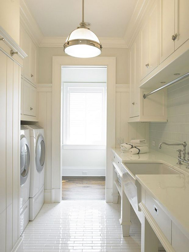 Laundry Room. White Laundry Room. White Laundry Room Flooring. White Laundry Room Cabinet. White Laundry Room Lighting #White #LaundryRoom Via Sarah Sarna.