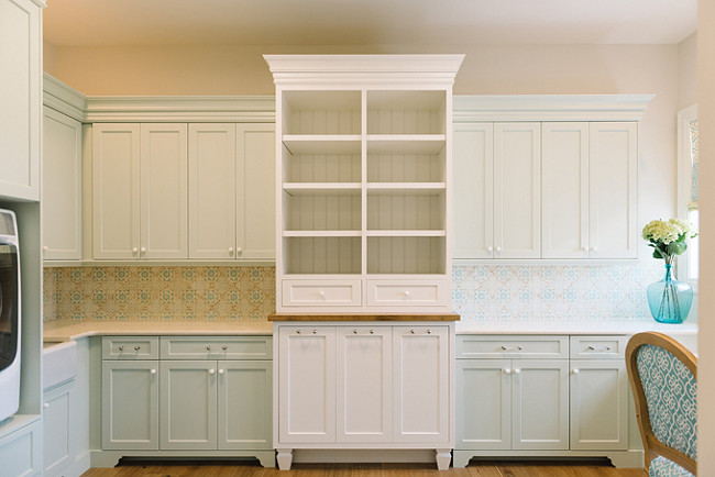 Laundry room cabinet paint color is Hollingsworth Green HC-141 Benjamin Moore and White Dove OC-17 Benjamin Moore. #LaundryRoom #Cabinet #paintColor Four Chairs Furniture.
