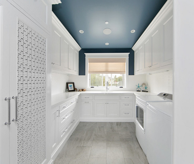 Laundry room painted ceiling. Laundry room with painted ceiling. Painted ceiling laundry room. #laundryroom #paintedceiling #paintedceilingiceas #paintedceilingpaintcolor Brandon Architects, Inc.