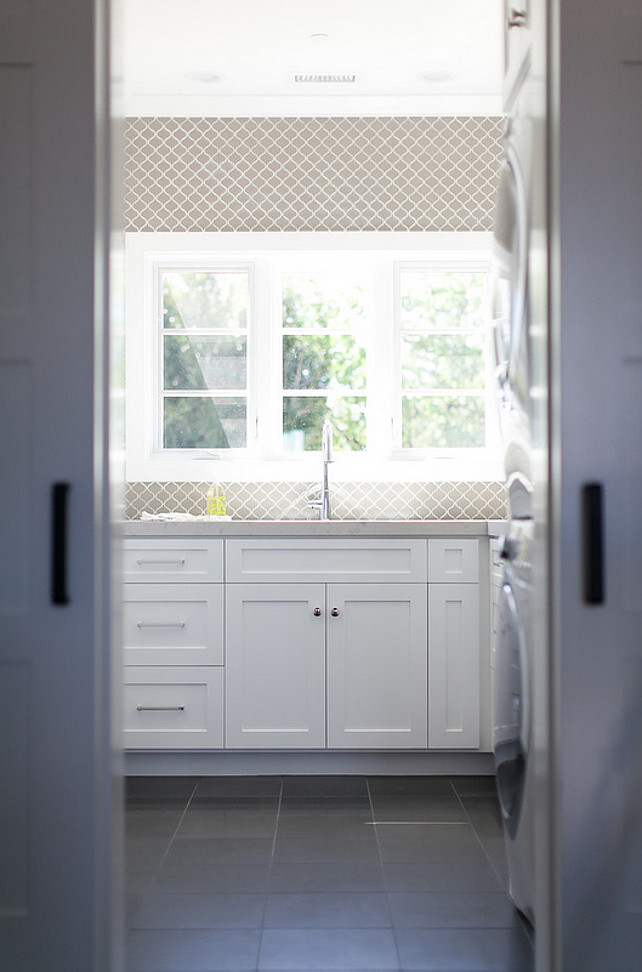 Laundry room. Laundry room window. Laundry room sink. Laundry room faucet. Laundry room countertop. #Laundryroom Brooke Wagner Design.