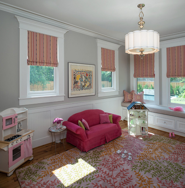 Playroom Design Ideas. Great neutral and organized playroom. #Playroom