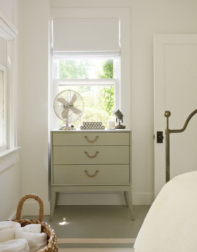 Leather Pull Hardware - Cabinet - Cottage. Cottage bedroom with gray nightstand adorned with leather pull hardware. #LeatherHardware #LeatherPull