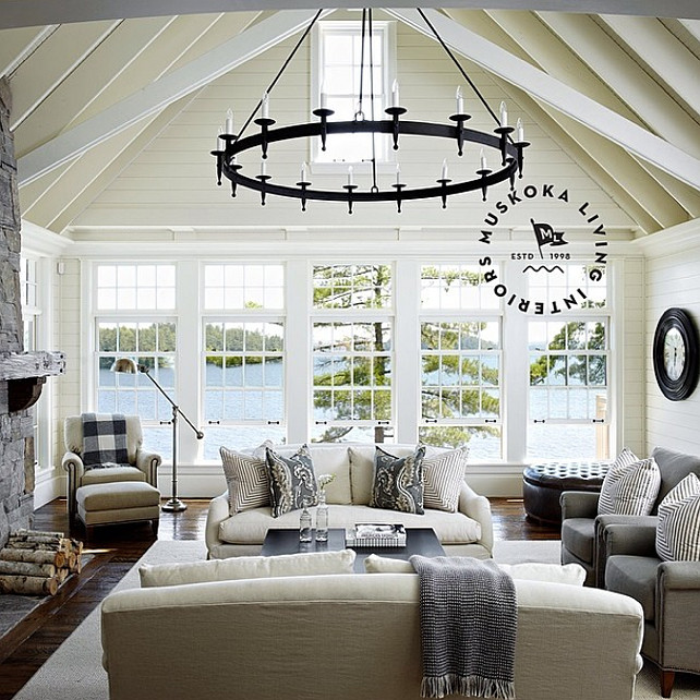 Liivng Room with Exposed Beams. Coastal Living Room with Exposed Beams and plank walls. #LivingRoom #Coastal #CoastalInteriors #CoastalLivingRoom Muskoka Living Interiors