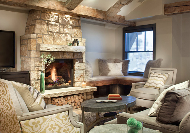 Limestone Fireplace. Rustic home with Limestone stone fireplace. Rustic living room with natural Limestone fireplace. #limestone #Fireplace Kristine Pivarnik Design, LLC.