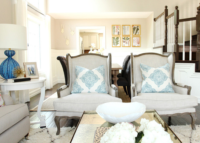 Living Room Chair Ideas. Neutral Living Room Chair. Living Room Chair Pillows. Living Room Chair Ideas. #LivingRoom #ChairLivingRoomChair Pillow Fabric is by John Robshaw. Studio McGee.