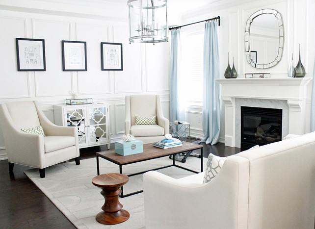 Living Room Color Palette. Living Room Paint Color is Benjamin Moore Cloud White. #BenjaminMooreCloudWhite #LivingRoomPaintColor #LivingRoomColorPalette AM Dolce Vita