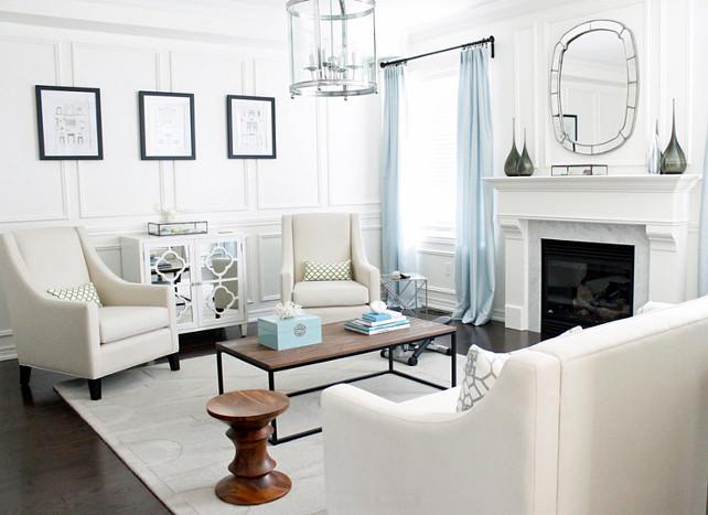 Living Room Color Palette. Living Room Paint Color is Benjamin Moore Cloud White. #BenjaminMooreCloudWhite #LivingRoomPaintColor #LivingRoomColorPalette  AM Dolce Vita
