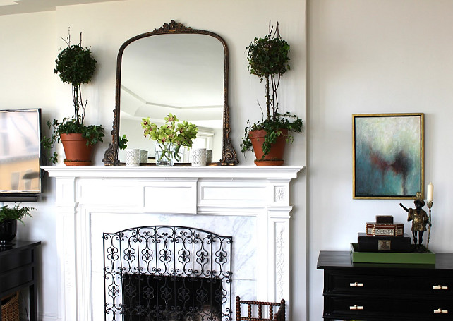 """Benjamin Moore White Dove Oc-17"". Living Room Decor Ideas. Classic Living Room Decor Ideas #LivingRoom #LivingRoomDecor Designed by Chez Vous Home Interiors."