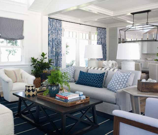 "Living Room Decorating Ideas. Living Room Furniture. Living Room Furniture Layout. Open Concept Living Room. The rug is a ""Coastal Living dhurrie by Jaipur Rugs"". #LivingRoom Burnham Design."