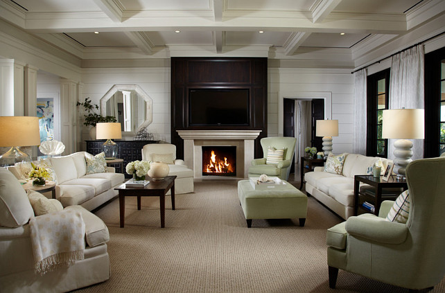 "Living Room Fireplace. This living room energy efficient down lights and 1'"" slotted linear air diffusers in new coffered and beamed ceilings. #LivingRoom #Fireplace"