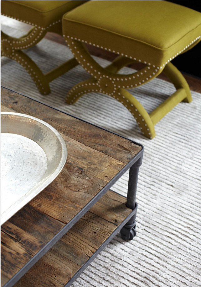 Living Room Furniture Ideas. Detail of custom silk and wool rug and reclaimed wood coffee table. Great addition for any living room. #LivingRoom #Furniture .