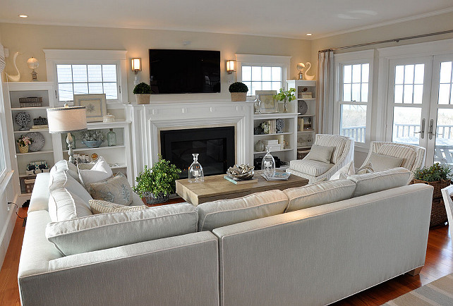 Dream beach cottage with neutral coastal decor home for U shaped living room layout