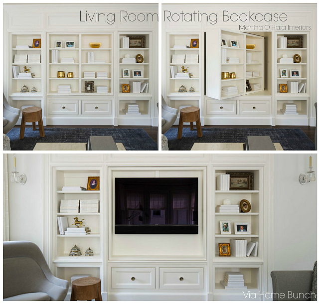 Living Room Rotating Bookcase. Living Room Rotating Bookcase exposes bookshelves in one side and the TV in the other. # LivingRoom #Rotating #Bookcase Martha O'Hara Interiors. Via HomeBunch