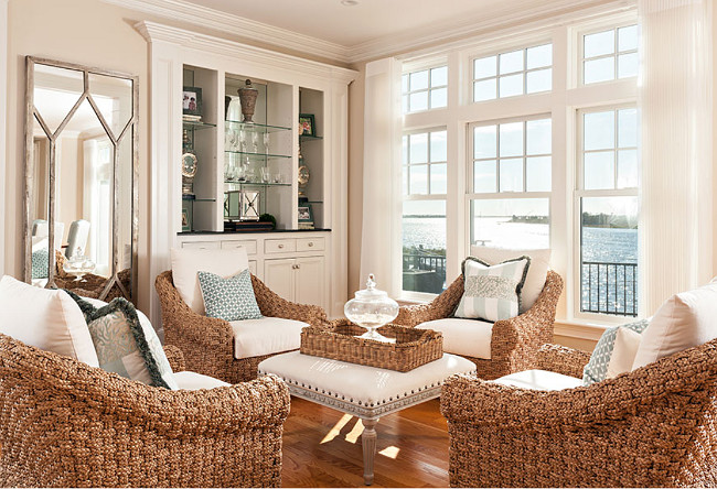 Living Room Wicker Chairs. Beach house living room with wicker chairs. #Wicker #Chairs #LivingRoom Casabella Home Furnishings & Interiors.