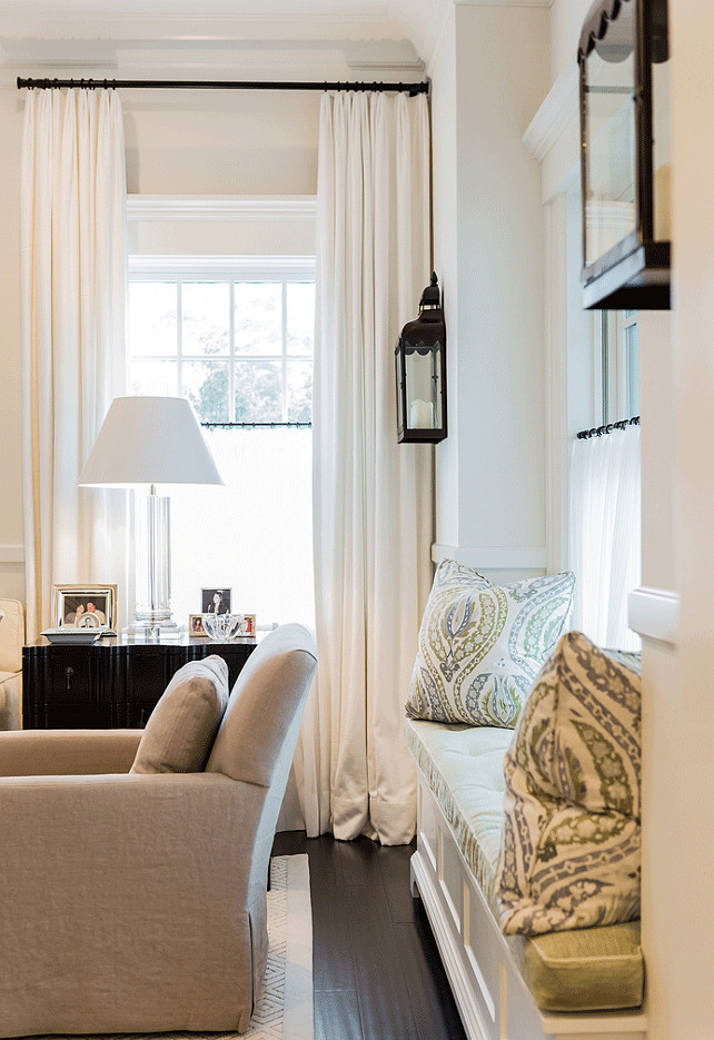 Amazing Living Room Window Seat. Living Room Window Seat Flanked By Lantern  Sconces. #LivingRoom Part 13