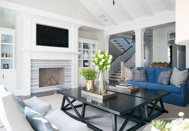 Living Room with Two Coffee Tables. Transitional living room with Two Coffee Tables. #Livingroom #TwoCoffeeTables Brooke Wagner Design.