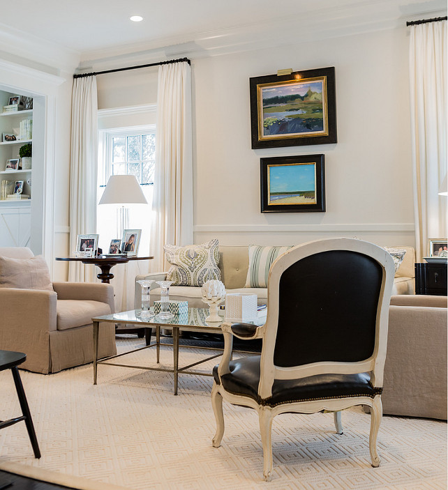 Living Room. Black and white and linen. #LivingRoom  Brookes and Hill Custom Builders.