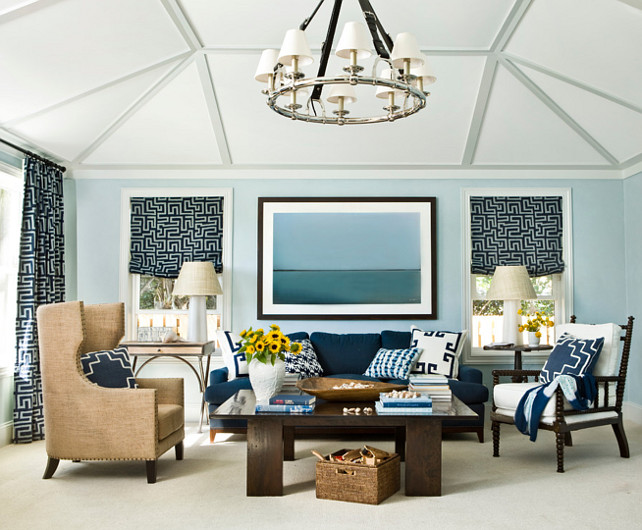 Living Room. Blue Living Room. Coastal Blue Living Room. #BlueLivingRoom #LivingRoom #Coastal Andrew Howard Interior Design.