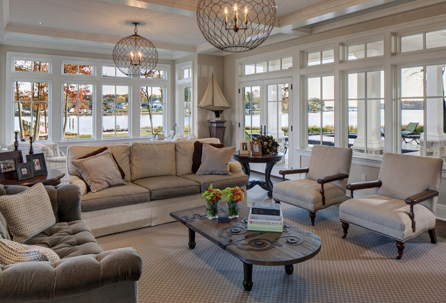 Living Room. Coastal Living Room with neutral decor. #LivingRoom Hammond Wilson Architects.