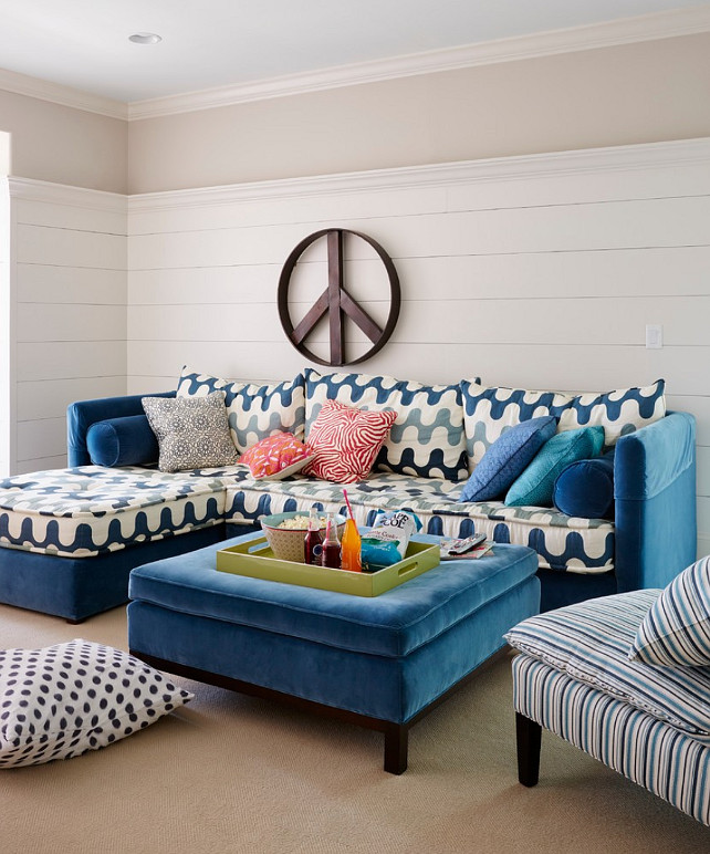 Living Room. Colorful Coastal Living Room. Fun coastal living room with plank walls. #LivingRoom #CoastalInteriors #ColorfulInteriors Andrew Howard Interior Design.