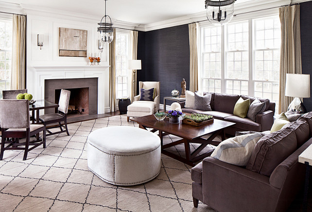 Living Room. Liivng Room with navy grasscloth wallpaper, wainscotting and fireplace. Living Room Lighting #LivingRoom Alisberg Parker Architects.