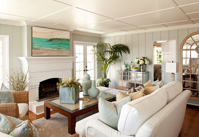Living Room. Living Room Layout. Small Living Room Furniture Layout. Living Room Color Palette. Living Room Coastal Color Scheme. Living Room Painted Brick Fireplace. #LivingRoom  Barclay Butera Interiors