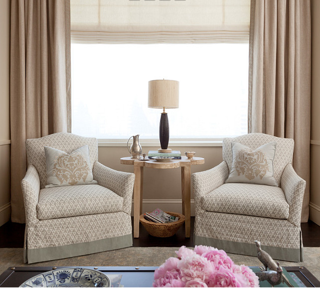 Living Room. Neutral Living room Ideas. Neutral living room features neutral chairs, neutral linen draperies and neutral roman shades. #Neutral #LivingRoom #NeutralInteriors #Interiors Jenny Wolf Interiors.