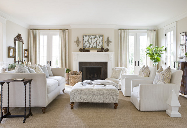 Living Room. White on white living room ideas. Living room furniture layout. Neutral Living room. #Livingroom   2 Ivy Lane.