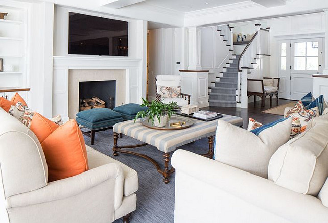 Living Room Ottoman Ideas Striped In Traditional Coastal