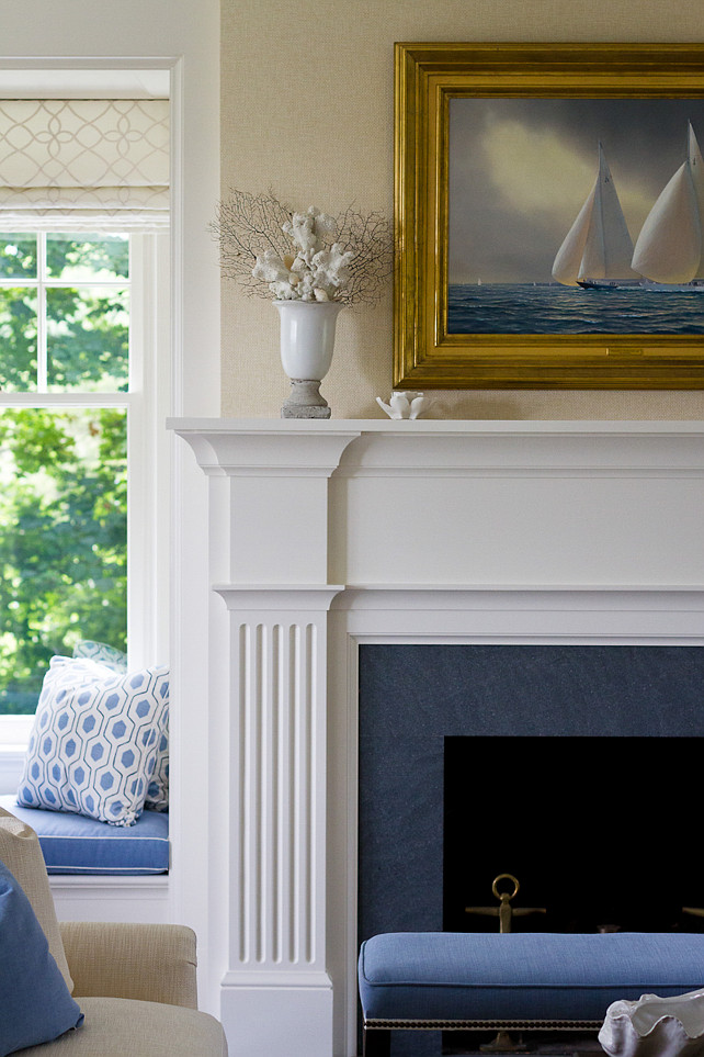 Living room fireplace. Coastal fireplace ideas. Living room fireplace mantel. Living room stone fireplace. SLC Interiors.