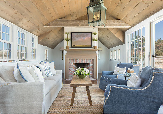 Living room with whitewashed wood ceiling. Coastal Living room with whitewashed wood ceiling. Living room whitewashed ceiling. #LivingRoom #Whitewashed #Ceiling #Plank #wood Casabella Home Furnishings & Interiors.