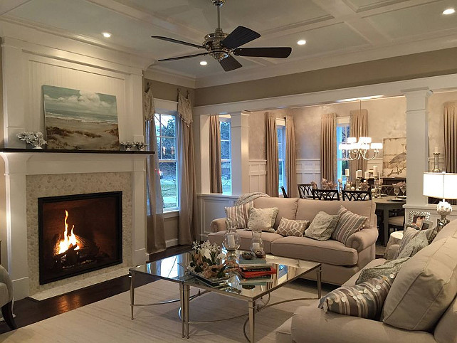 Living room. Cozy coastal living room with fireplace. Perfect coastal decor. #LivingRoom #CoastalDecor #Fireplace