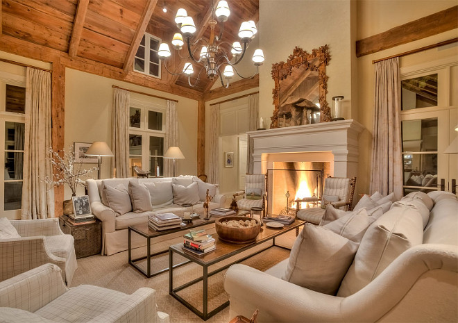 Living Room Neutral French Country With Linen Sofas And