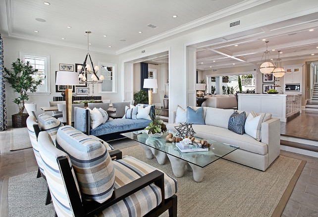 Living room. Open concept living room. Open concept coastal living room. Living Room. #LivingRoom #OpenConcept #OpenConceptLivingRoom Spinnaker Development.