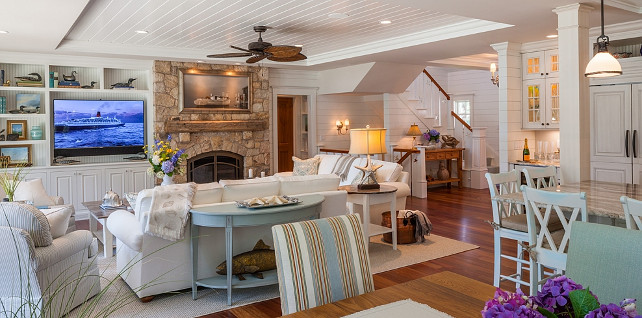 Living room. Shiplap living room with stone fireplace and coastal decor. Polhemus Savery DaSilva Architects Builders.