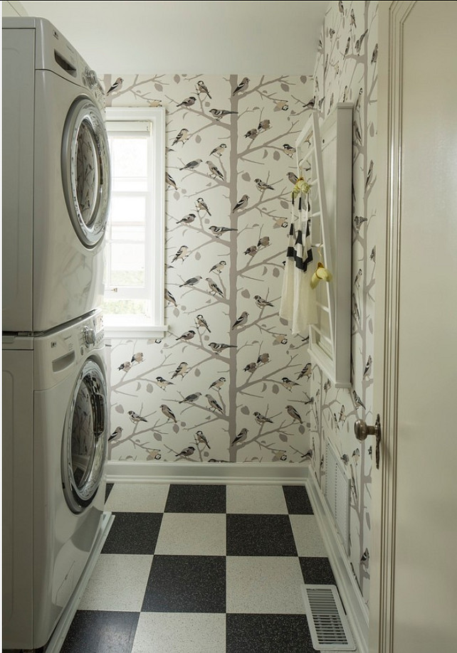 "Sarah Richardson's Bird Wallpaper. The bird Wallpaper Sarah Richardson used once in a bathroom is the ""A-twitter in winter by Schumacher"". #SarahRichardson #Wallpaper #BirdWallpaper #ATwitterWallpaper"
