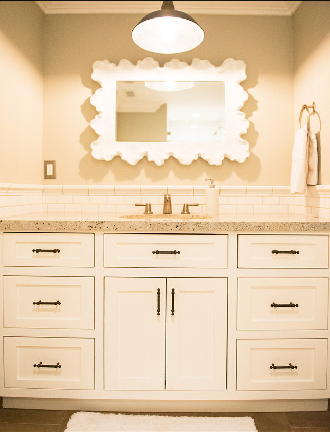 Bathroom Vanity Paint Color. The vanity paint is Behr Ultra Pure White. #Bathroom #PaintColor #Behr #UltraPureWhite