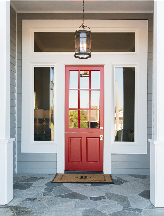 Front Door Ideas. Red Front Door. Beautiful shade of red for this door. Pendant Lighting is from Overstock. #RedDoor #RedDoorPaintColor #Door