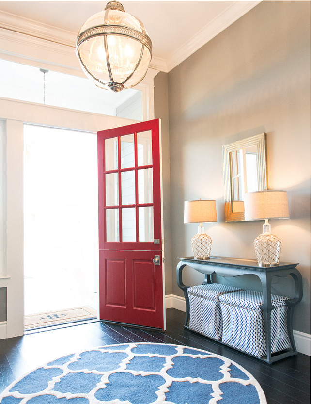 Entry Design Ideas. Gorgeous entry design. Light fixture is from Restoration Hardware. #Entry #Lighting #RedDoor