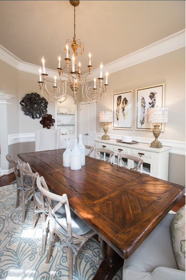 Dining Table Ideas. Great dining table for a French dining room. #Table #Chandelier #DiningRoom