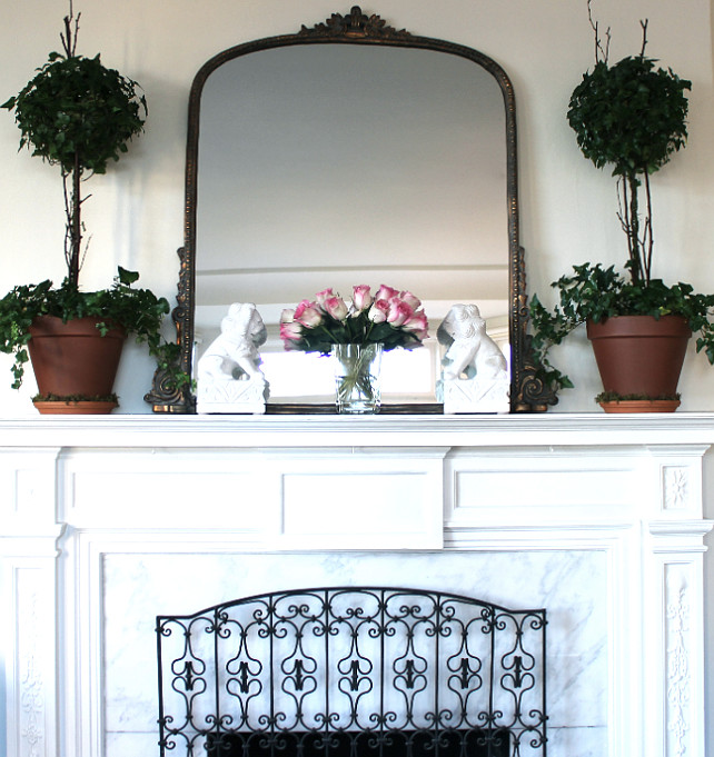 Mantel Decor Ideas. Beautiful Traditional Mantel Ideas. #Manterl #MantelDecor Designed by Chez Vous Home Interiors.