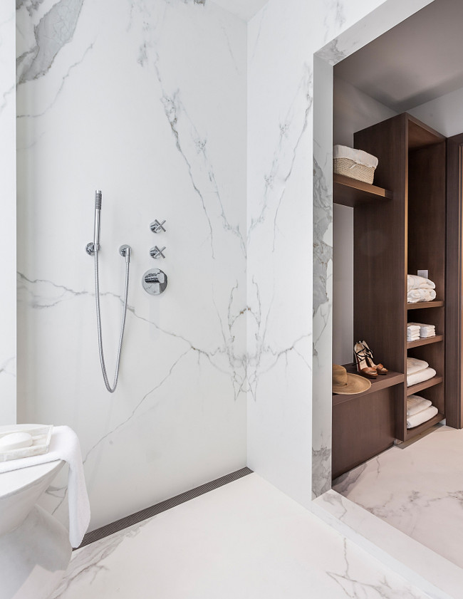 Marble slab shower. Bathroom with marble slab shower. Sofia Joelsson.