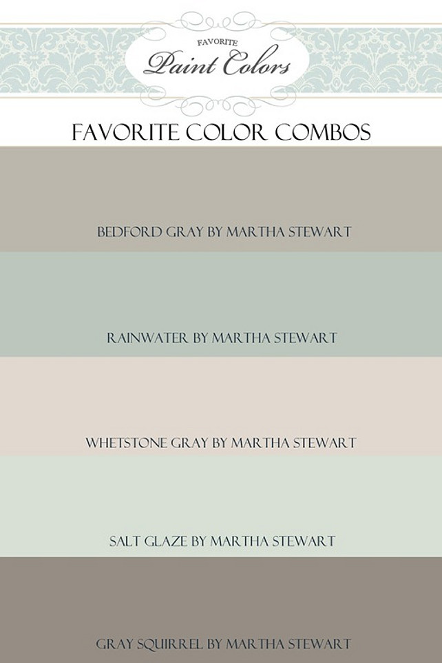 Martha Stewart Popular Paint Colors Rainwater, Whetstone Gray, Salt Glaze, Gray Squirrel #MarthaStewartPaintColor   Via Favorite Paint Colors.