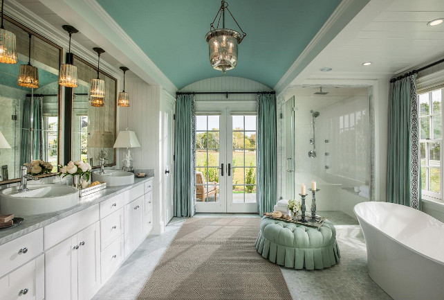 Master Bathroom. Master bathroom with coved ceiling and walk-out private patio. Master Bathroom Ideas. #MasterBathroom #Bathroom #Ensuite #HGTV2015DreamHouse