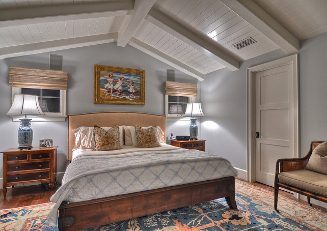 master bedroom is comfortable and features a very soothing paint color